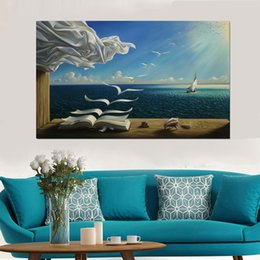 dali arts NZ - Salvador Dali Canvas Art Print Poster The Waves Book Sailboat Picture Canvas painting Diary of Discovery by Vladimir Kush