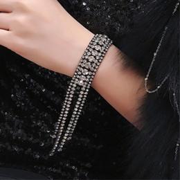 Infinity Crystals Australia - Luxurious Punk Crystal Bracelet Black Silver Color Infinity Shiny Charm Tassel Bracelets for Women Girls Fashion Party Jewelry 2019 New