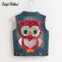 $enCountryForm.capitalKeyWord NZ - Baby Girls Boys Vests Children Unisex Cotton Warm Vest cartoon sequin owl design Waistcoat Kids Outerwear Clothing