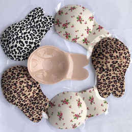 Discount invisible straps - Silicone Self-Adhesive Bra Leopard Printed Rabbit Ears Strapless Invisible Bra Push Up Blackless Underwear Breast Sticke