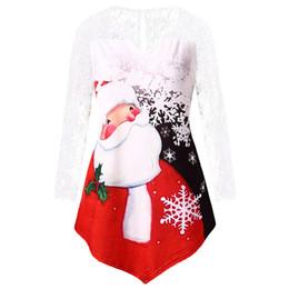 caafa9afd302d Christmas Shirts Plus Size Women Australia - Plus Size Santa Claus Print  Lace Insert Tee Christmas