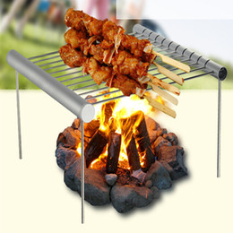 $enCountryForm.capitalKeyWord Australia - Foldable Stainless Steel BBQ Grill Rack Portable Camping Mini BBQ Grill Rack Barbecue Accessories For Home And Outdoor Use