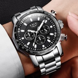 $enCountryForm.capitalKeyWord NZ - 2018 Mens Watch Big Dial LIGE Chronograph Top Brand Luxury Fashion Men Waterproof Sport Quartz Watch Erkek Kol Saati