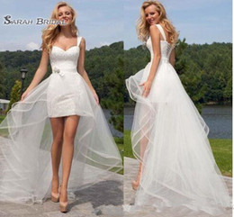 cb4c8a41b New Cheap beach wedding dress Two Pieces sweetheart back lace-up Short Lace  Detachable Skirt bridal down