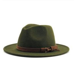 Ladies beach hats online shopping - 2019 Women Men Wool Fedora Hat With Leather Ribbon Gentleman Elegant Lady Winter Autumn Wide Brim Jazz Hats Church Panama Sombrero Cap