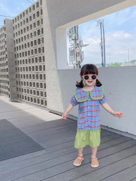 Mini satin cheongsaM online shopping - Children s clothing girls foreign dress new summer children s plaid skirt baby Korean shirt tide