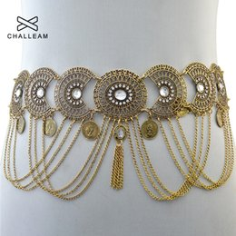 gold belly dance chains UK - Fashion Mental Tassel Golden Belly Chain Belts Women Crystal Inlay Alloy Casual Dance Gold Waist Chain Vintage Fringe Belt 113 Y200501
