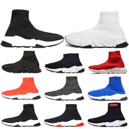 Ingrosso 2019 designer uomo donna Speed Trainer moda calzino scarpe nero bianco blu glitter mens piatto scarpe da ginnastica runner taglia 36-45