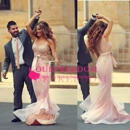 sheer bodice sheath prom dresses NZ - 2019 Sexy Sleeveless Pink Evening Dresses V Neck Illusion Bodice Sequins Beaded Tulle Backless Berta Prom Dresses Evening Party Dresses