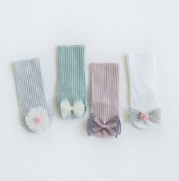 $enCountryForm.capitalKeyWord UK - Toddler kids socks girls stereo lace pompon flower Bows applique short socks baby vertical stripe knitted non-slip ankler socks F5462