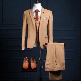 $enCountryForm.capitalKeyWord Australia - Custome Herring bone Tweed Men Suit 3Pieces(Jacket+Pants+Vest+Tie) Formal Italian Slim Fit Tuxedo Men Blazer