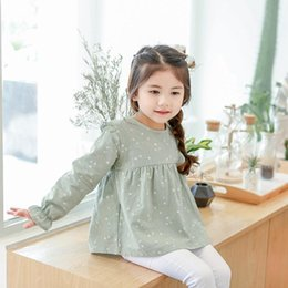 Yellow Shirt Girl NZ - WLG Girls spring autumn printed t shirts kids green yellow pink long sleeve ruffle t-shirt baby casual cotton clothes children