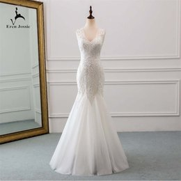 Discount factory make up - Free Shipping Stunning Style Ivory Tulle Bridal Mermaid Wedding Gown Attractive Open Back Design Eren Jossie Brand OEM F