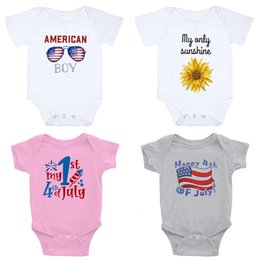Discount newborn baby boys clothing Newborn Baby Letter Rompers My First 4th Of July Letter Printed Romper American Independence National Day Baby Clothes B