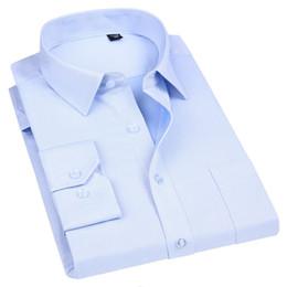Men Cotton Business Shirts Australia - High Quality Non-ironing Men Dress Long Sleeve Shirt 100% Cotton New Solid Male Plus Size Fit Business Shirts White Blue Q190518
