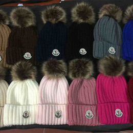 animal beanies fox Australia - Wholesale top quality brand Beanies Hats real Fox Fur Ball winter hat boys girls Autumn Winter Beanie hat men Knitted Skull Caps
