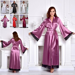 Wholesale plus size long lace coats for sale – winter Sexy Plus Size Nightwear Women Long Sleeve Lace Night Robes Custom Made Satin Sleepwear Cheap