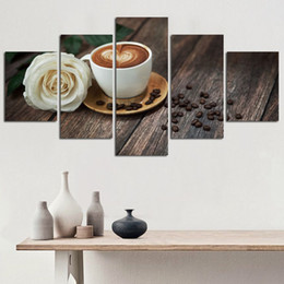 $enCountryForm.capitalKeyWord Australia - Canvas Pictures Living Room Wall Art 5 Pieces Coffee Cup And Rose Paintings HD Printed Modular Poster Kitchen Home Decor(No Frame)