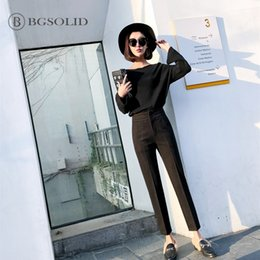 $enCountryForm.capitalKeyWord NZ - autumn&winter 2018 new style tobacco pipe trousers Korean version loose small Woollen nine straight tube suit trousers of women