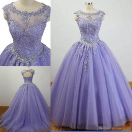8b73b5dd828 Elegant Ball Gown Plus Size Quinceanera Dresses 2019 Lavender Lace  Appliques Open Back Lace-up Beaded Prom Dresses Graceful Evening Gowns