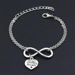 $enCountryForm.capitalKeyWord Australia - 2019 New Minimalism Double Infinity Love Sister Always Best Friends Pendant Bracelets For Women Men Chain Bangles For DIY Party Jewelry Gift