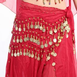 Discount women belly dance belt - 50pcs Red Women Sexy Cute Belly Dance Hip Skirt Chiffon Wrap Scarf Belt With Gold Coins in 3 Rows 13 colors dancing acce