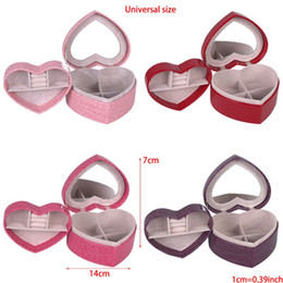 PU Heart Shaped Leather Jewelry Box Double Layers With Mirror for Boxes & Bags from cheap wedding gift favors manufacturers