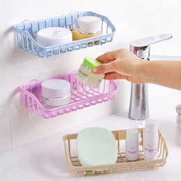 $enCountryForm.capitalKeyWord Australia - wholesale Suction Cup Bathroom Plastic Drain Rack Sink Multifunctional Storage Sponge Holder Shelf Kitchen Organizer Make