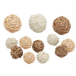 Flower Fillers online shopping - 100PCS MOQ Handmade Rattan Wicker Ball Rustic Spheres Balls for Christmas Wedding Home Party DIY Decor Child Pet Toys Table Vase Filler