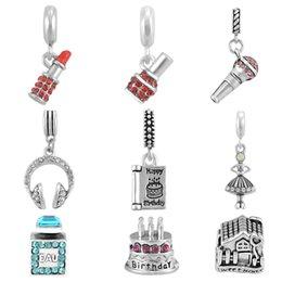 Mode Headset Parfüm Flasche Lippenstift Charme Anhänger Fit Pandora Perle Charms Armbänder DIY Schmuck Machen Für Frauen SPP198