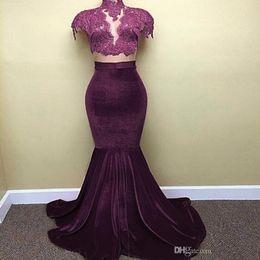 Hot Mermaid Pictures Australia - 2019 New Hot Cap Sleeves Black Purple Velvet Prom Dresses Mermaid High Neck Lace Appliques Long Train Evening Gowns Arabic Celebrity Dress