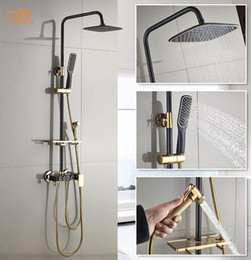 Wholesale All copper black shower set Multi function belt bidet lift booster shower head shower