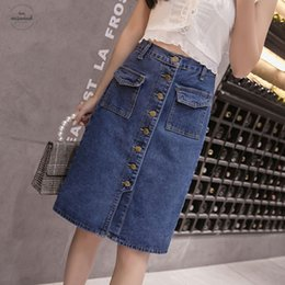 Skirt pluS SizeS online shopping - Korean Fashion High Waist Skirt Plus Size Femme Pockets Classic Jeans Skirt For Women S Xl Elegant Jupe Dropship