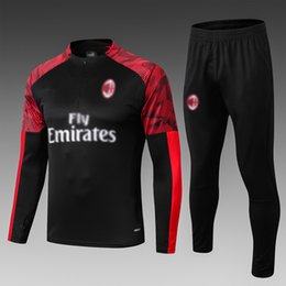 tracksuit milan UK - 19 20 ac milan tracksuits red black white jogging suits mens designer tracksuits long sleeve training suit