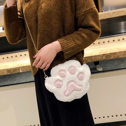 bags for cell phones christmas NZ - Cute Plush Shoulder Crossbody Bags For Women Fashional Cat Paw Mobile Durable Phone Mini Bag For Teenage Girls