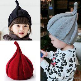 Green Pompom Hats Australia - Newborn Cute Winter Baby Hat Fur Ball Pompom Cap Kids Girl Boy Winter Knitted Wool Hats Caps for Girls Hemming Hat Beanies