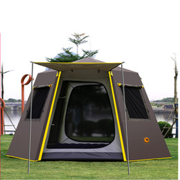 UV hexagonal aluminum pole automatic Outdoor camping wild big tent 3-4persons awning garden pergola 245*245*165CM free shipping on Sale