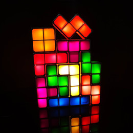 $enCountryForm.capitalKeyWord Australia - DIY Tetris Puzzle Light Stackable LED Desk Lamp Constructible Block Night Light Retro Game Tower Baby Colorful Brick Toy