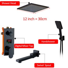 Contemporary bath fauCets online shopping - 3 way Black Digital quot quot Shower Faucets Set Rainfall Shower Head Digital Temp Display Mixer Tap Swivel Tub Spout Bath Shower