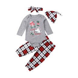 boy romper set wholesale Canada - Newborn Toddler Baby Girl Boy Christmas Clothes Sets Long Sleeve T-shirt Romper Top Plaid Pants Matching Outfits