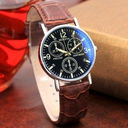 Mens Wholesale Glasses Australia - MODIYA Six Pin Men Fashion Business Casual Watch Leather Buckle Quartz Mens Clock Blue Glass Belt Wrist Watches reloj hombre