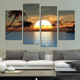 Art Canvas Prints Australia - HD Printed Modern Canvas Living Room Pictures 4 Panel Sunset Ocean View Painting Wall Art Modular Poster Framework Home Decoration