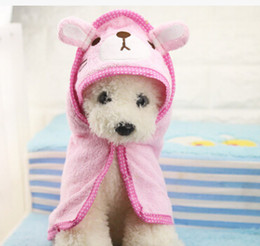towel hoodies 2019 - Cute Pet Dog Towel Soft Drying Bath Pet Towel For Dog Cat Hoodies Puppy Super Absorbent Bathrobes Dog Cleaning supply ch