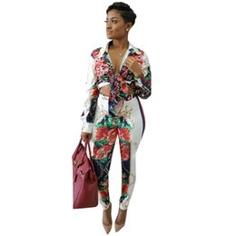 $enCountryForm.capitalKeyWord UK - Two Piece Set Floral Print Jumpsuit Women Long Sleeve Vintage Bodycon Rompers Elegant Jumpsuit Female Party Work Office Overalls
