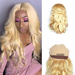blonde body wave full lace UK - Blonde Human Hair Wig Pre Plucked With Baby Hair Brazilian Body Wave #613 Full Lace Wigs Lace Front Wigs For White Women