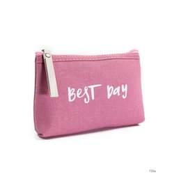 best day makeup Australia - Ladies'cosmetic Bag Best Day English Letter Makeup Bags and Cases Cute Makeup Bag