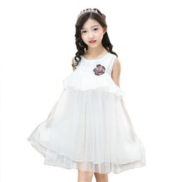 girls dress 16 years 2019 - Girls Dresses 2019 Cotton Cute Princess Girl Clothing Solid Sleeveless White Pink Girl Kids A-line Dress for 4-16 Years