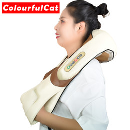 heated massage Australia - Shiatsu Cervical Back and Neck Massager Shawl Electric Roller Heat Device Manual China Home Car Massage Machine T191101