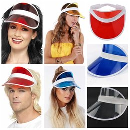 Retro Unisex Neon Sun Visor Hat Golf Tennis Stag Poker Party Headband Cap  sunscreen hat Tennis Beach elastic hats CNY284 b9d31824da3
