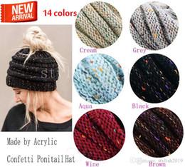Moda 14color cola de caballo de punto sombrero moda chica mujer invierno  cálido sombrero alto ocio e6c089b94ea